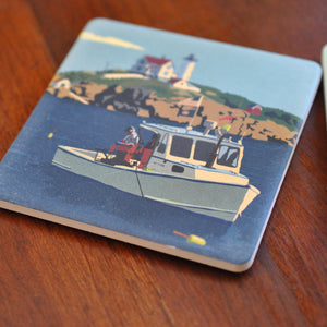 Lobstering At The Nubble Art Drink Coaster - Maine