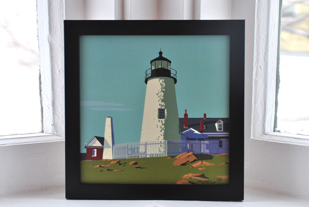 "Pemaquid Point Light Art Print 8"" x 8"" Framed"