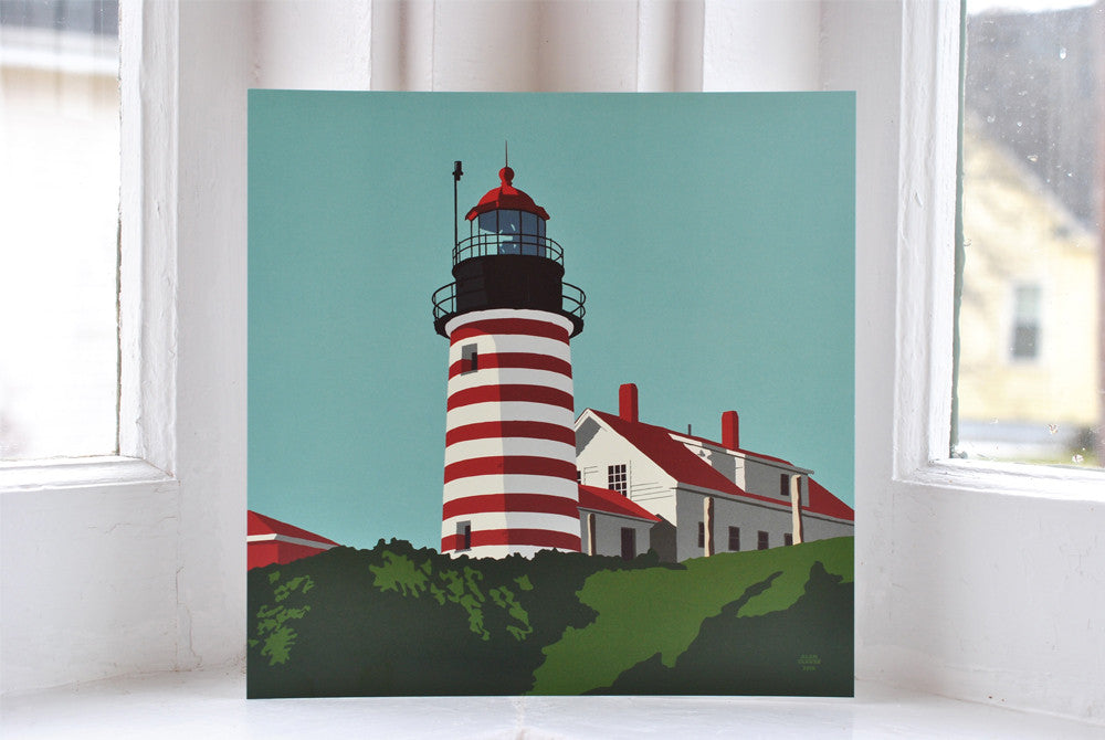 "West Quoddy Head Light Art Print 8"" x 8"" Square"