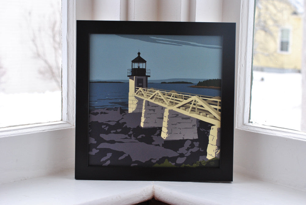 "Marshall Point Light Art Print 8"" x 8"" Framed"
