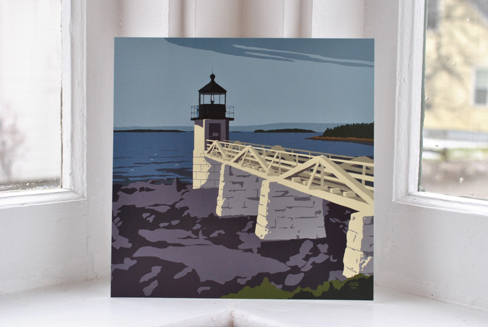 "Marshall Point Light Art Print 8"" x 8"" Square"