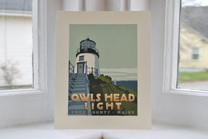 "Owls Head Light Art Print 8"" x 10"" Travel Poster - Maine"