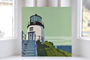"Owls Head Light Art Print 8"" x 8"" Square"