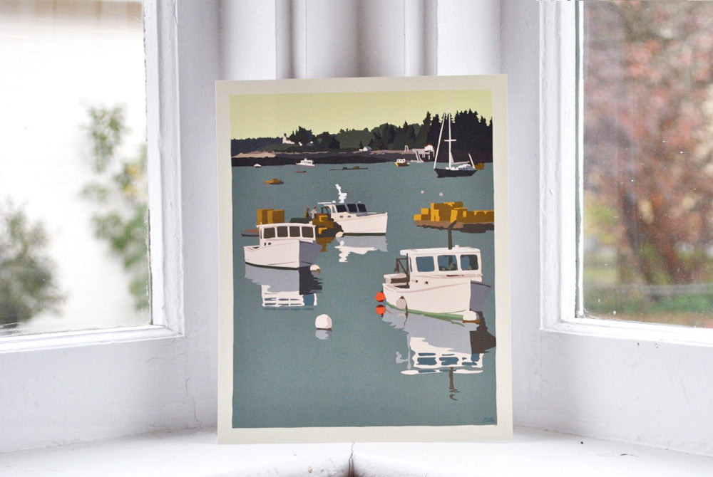"Lobster Boats on a Sunday Morning Art Print 8"" x 10"" Wall Poster - Maine"