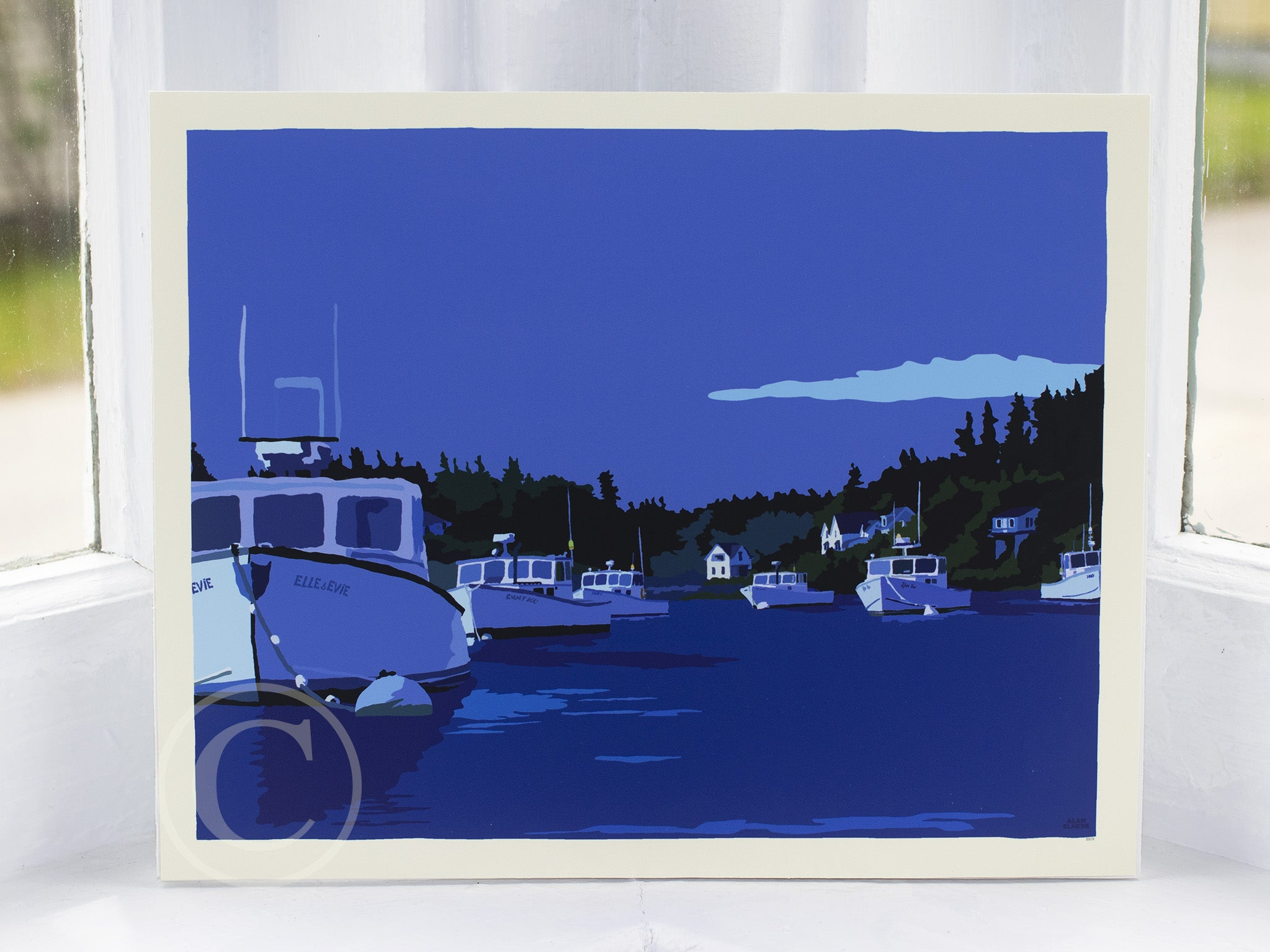 "Moonlight Over Port Clyde Art Print 8"" x 10"" Wall Poster by Alan Claude"
