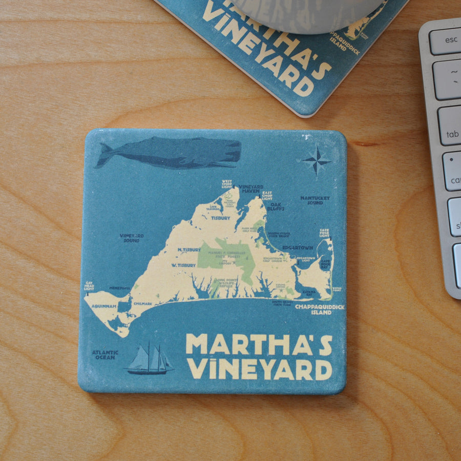 Martha's Vineyard Map Art Drink Coaster - Massachusetts