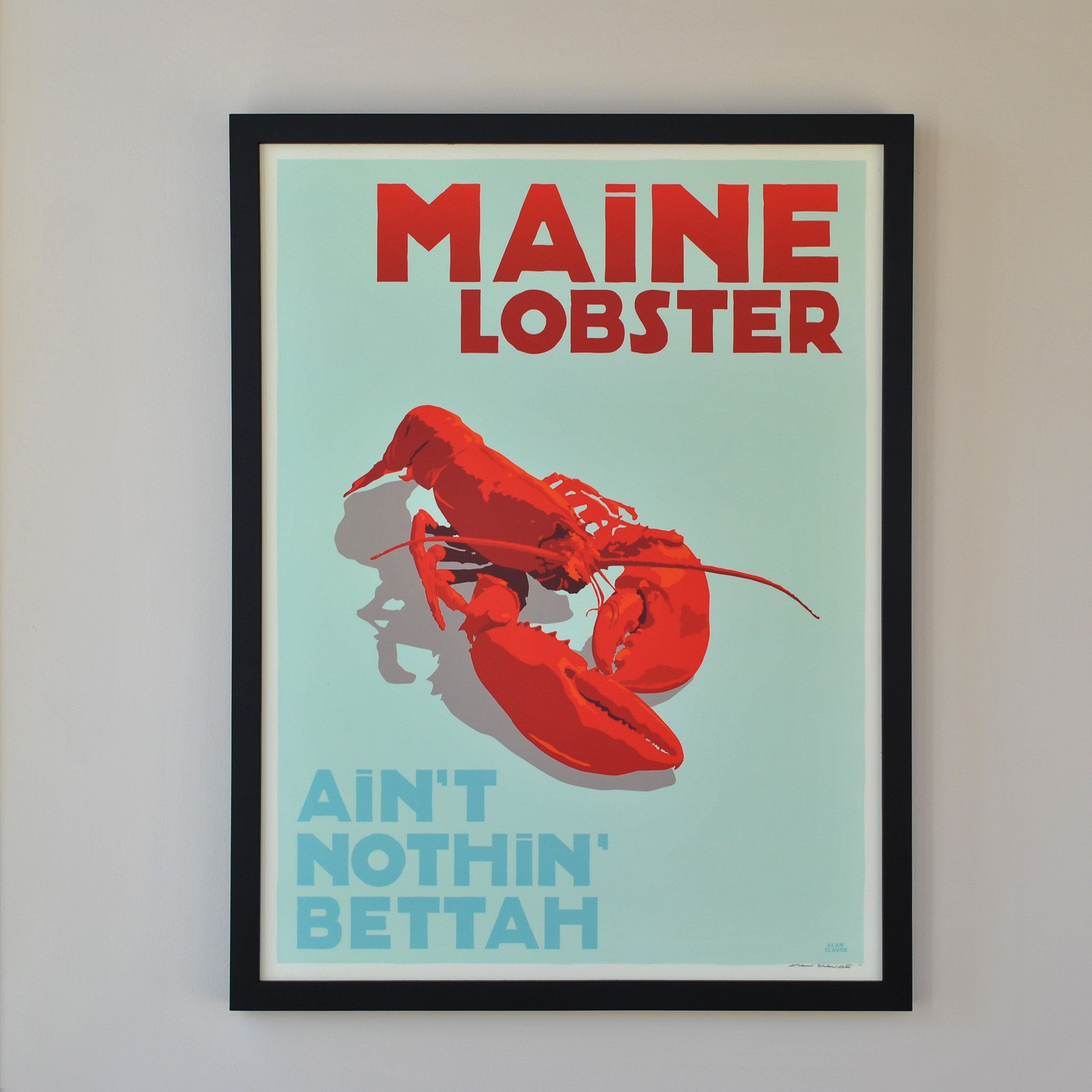 "Maine Lobster Art Print 18"" x 24"" Framed Travel Poster - Maine"