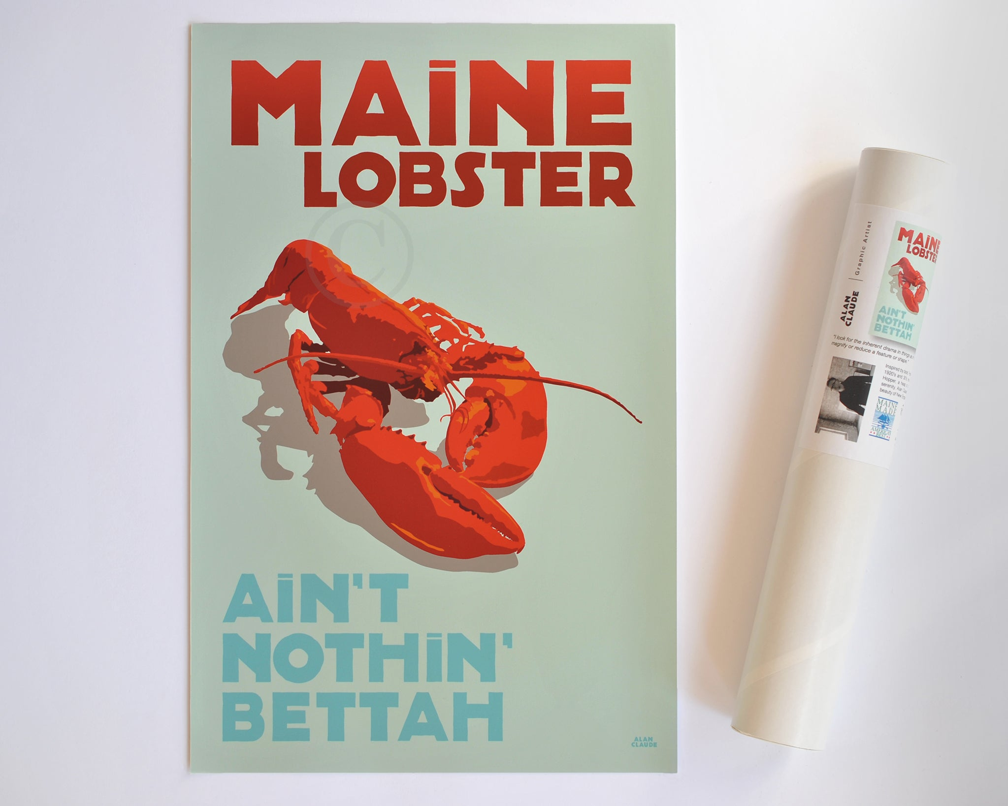 "Maine Lobster Art Print 11"" x 17"" Travel Poster - Maine"