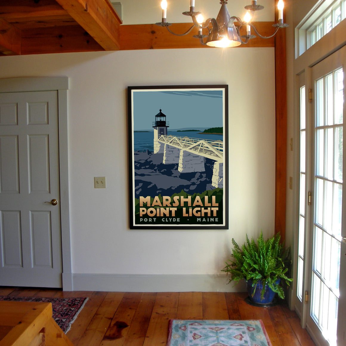 "Marshall Point Light Art Print 36"" x 53"" Framed Travel Poster - Maine"