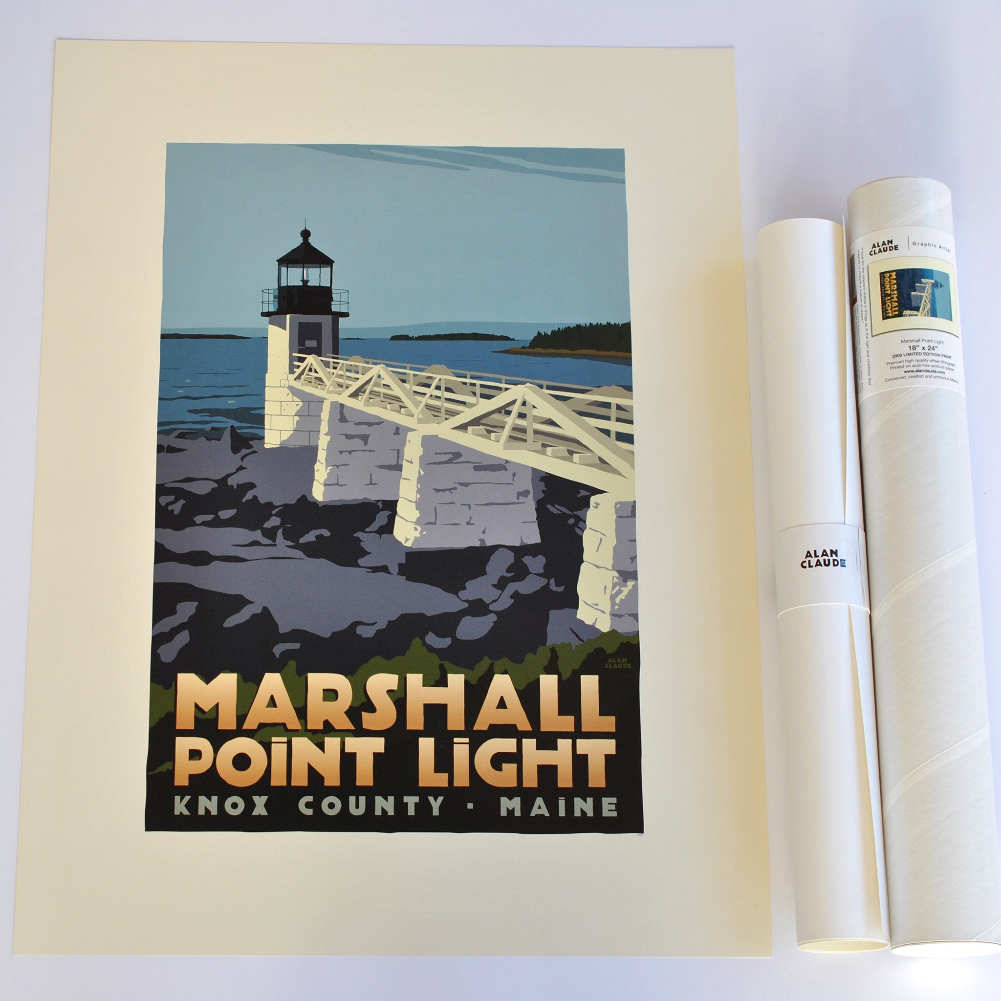 "Marshall Point Light Art Print 18"" x 24"" Travel Poster - Maine"
