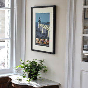 "Marshall Point Light Art Print 18"" x 24"" Framed Travel Poster - Maine"