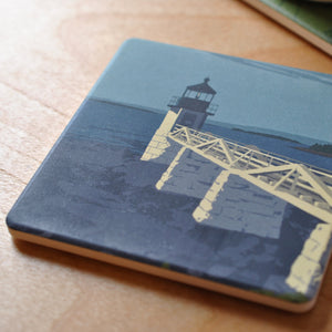 Marshall Point Light Art Drink Coaster - Maine