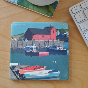 Motif No 1 Blue Sky Art Drink Coaster Single - Massachusetts