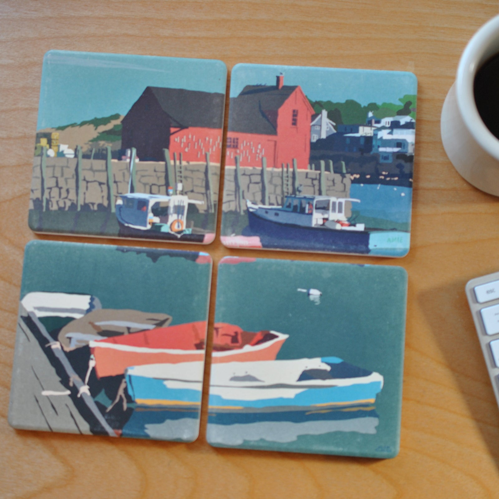 Motif No.1 Blue Sky Art Drink Coasters Puzzle - Massachusetts