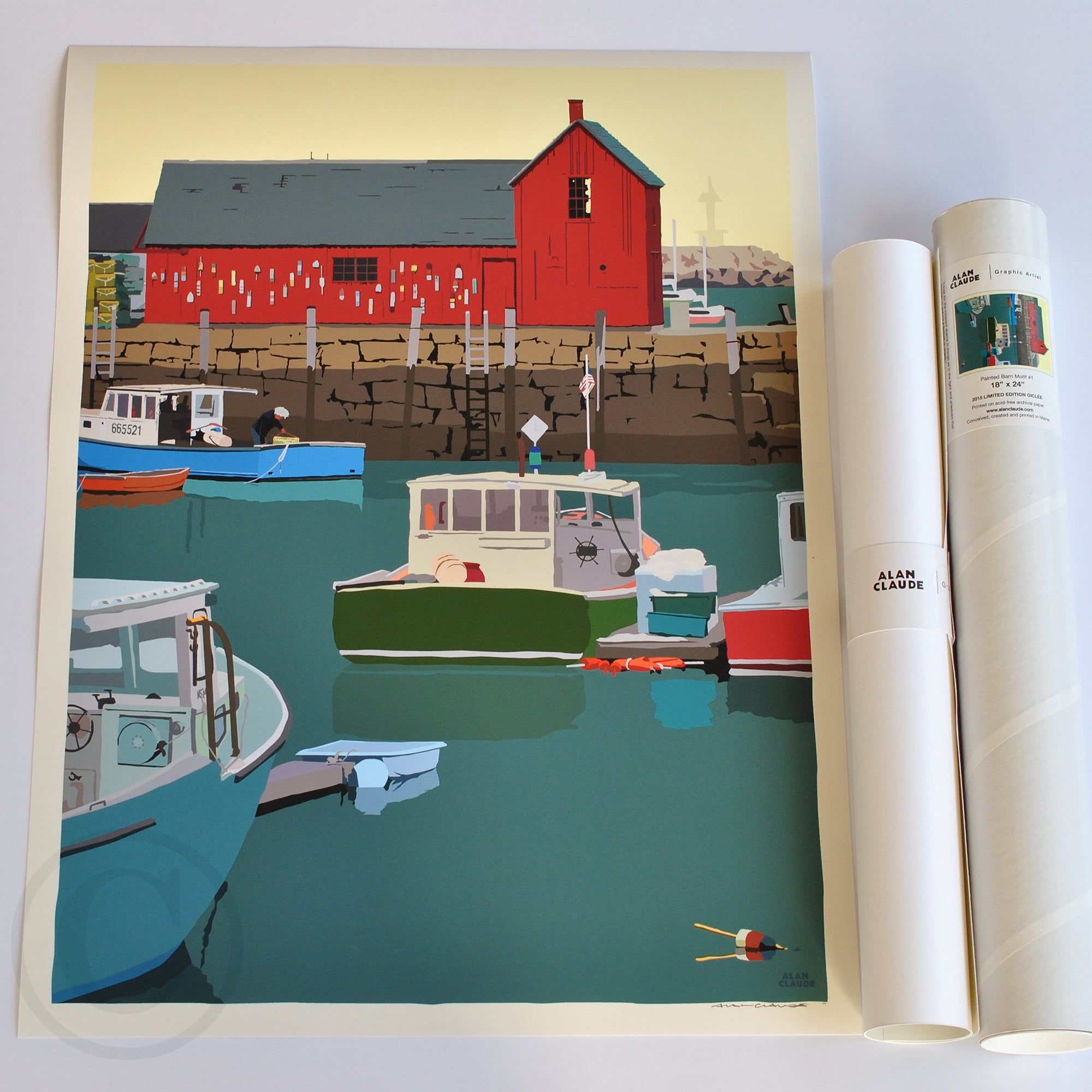 "Motif #1 - version A - Art Print 18"" x 24"" Wall Poster - Massachusetts"