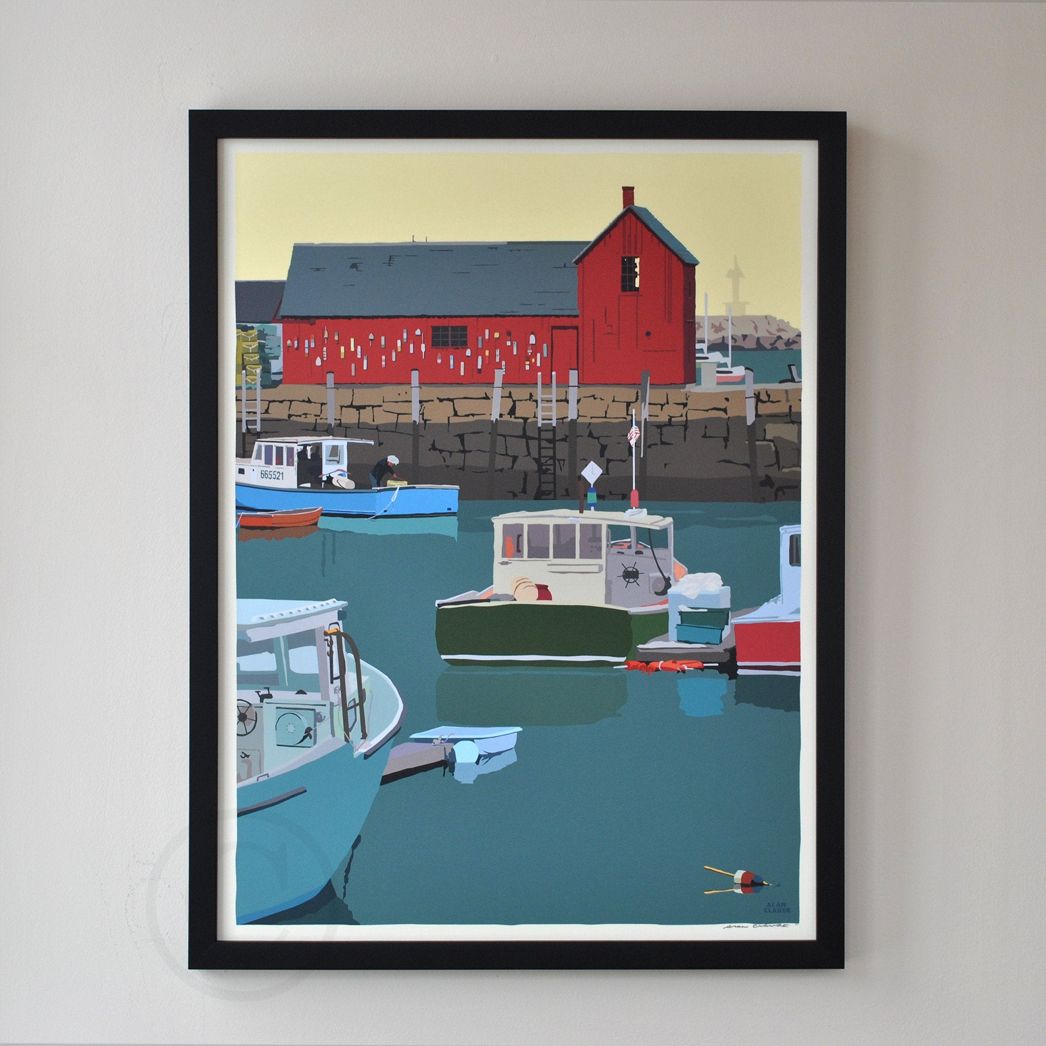"Motif #1 - version A - Art Print 18"" x 24"" Framed Wall Poster - Massachusetts"