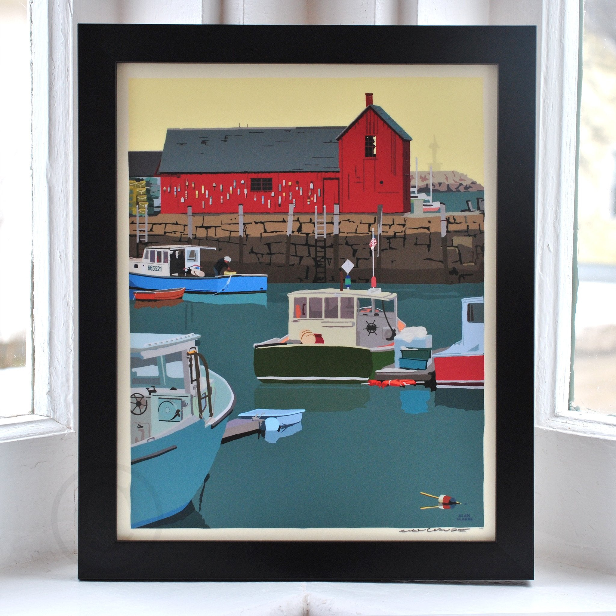"Motif #1 - version A - Art Print 8"" x 10"" Framed Wall Poster - Massachusetts"
