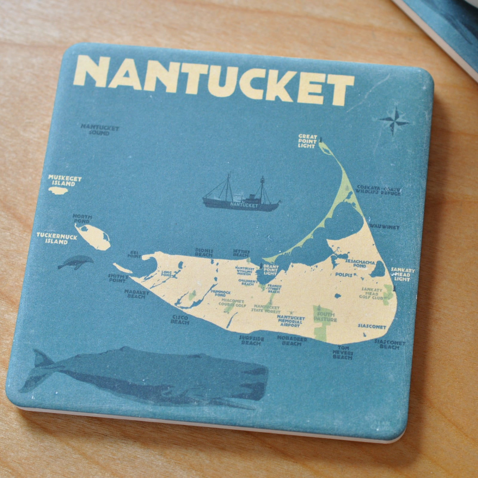 Nantucket Map Art Drink Coaster - Massachusetts