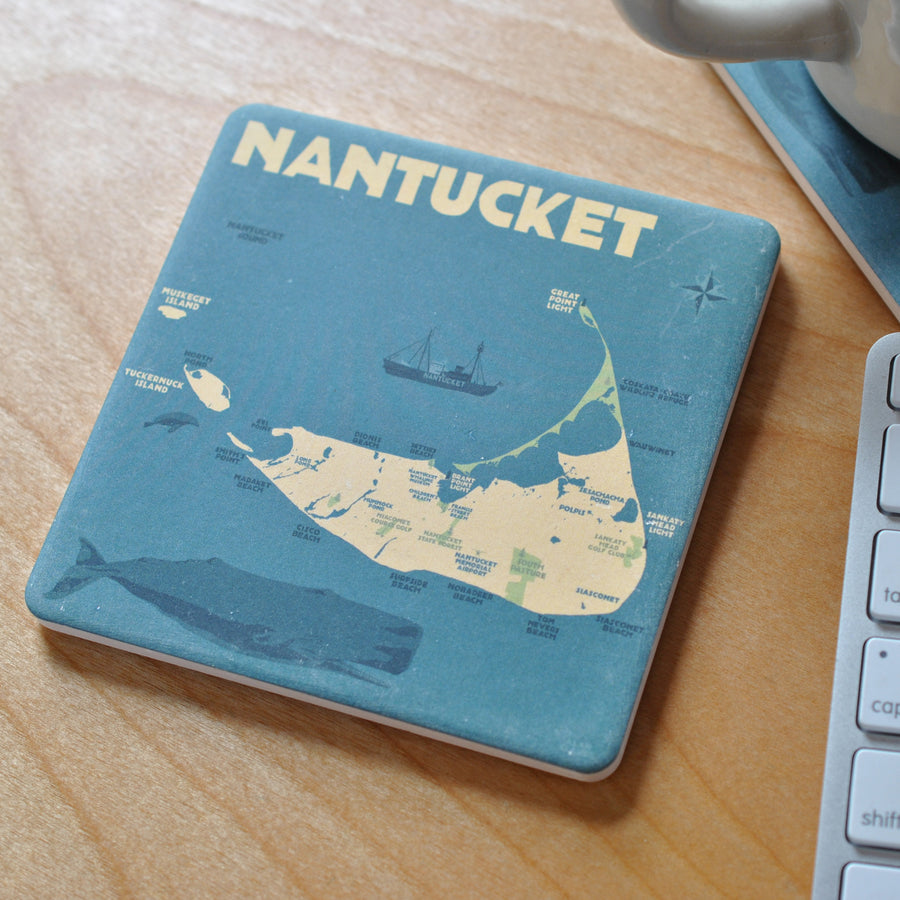 Nantucket Map Art Drink Coaster - Massachusetts -Sold Out