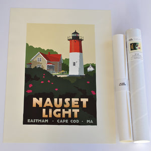 "Nauset Light Art Print 18"" x 24"" Travel Poster - Massachusetts"