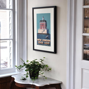 "New London Ledge Light Art Print 18"" x 24"" Framed Travel Poster - Connecticut"
