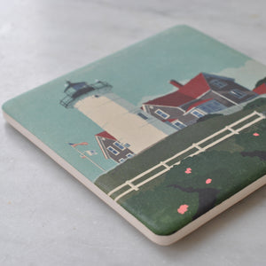 Nobska Light Art Drink Coaster - Massachusetts