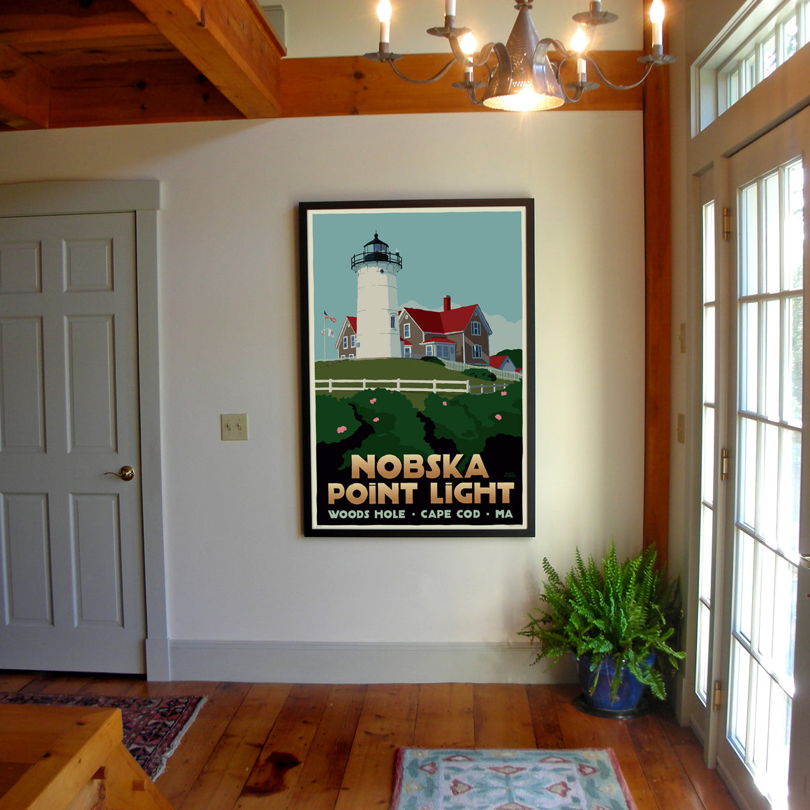 "Nobska Point Light Art Print 36"" x 53"" Framed Travel Poster - Massachusetts"