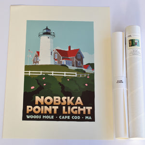 "Nobska Point Light Art Print 18"" x 24"" Travel Poster - Massachusetts"