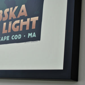 "Nobska Point Light Art Print 18"" x 24"" Framed Travel Poster - Massachusetts"