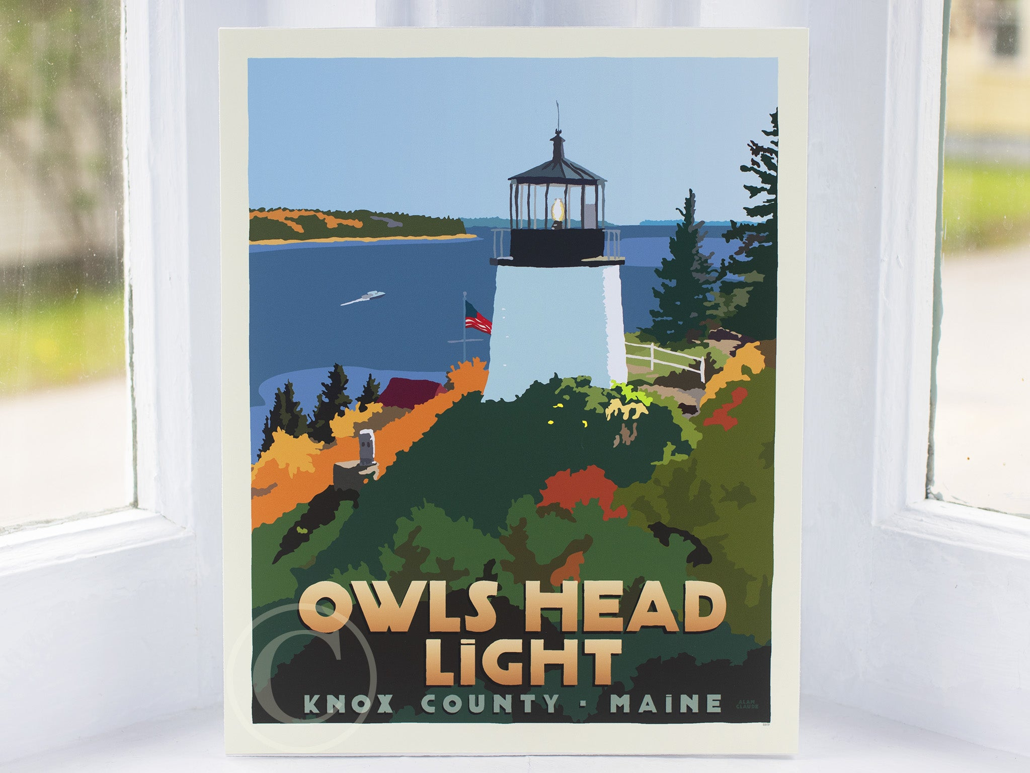 "Above Owls Head Light Art Print 8"" x 10"" Travel Poster - Maine"