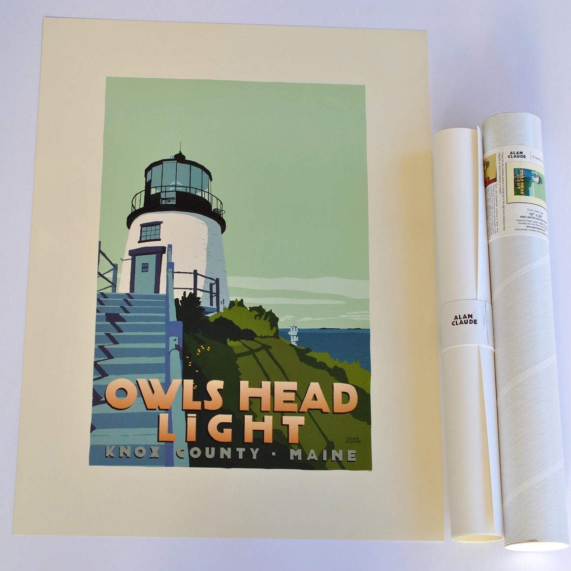 "Owls Head Light Light Art Print 18"" x 24"" Travel Poster - Maine"