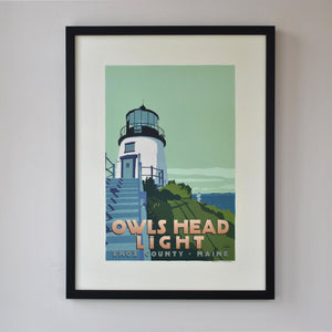"Owls Head Light Art Print 18"" x 24"" Framed Travel Poster - Maine"
