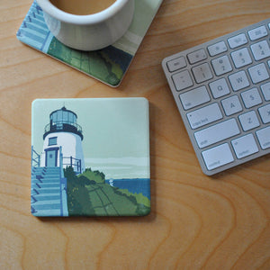 Owls Head Light Art Drink Coaster - Maine