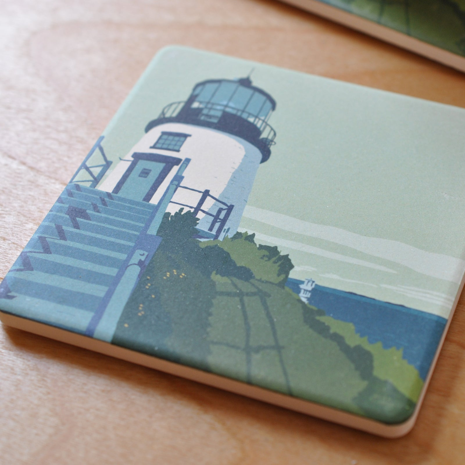 Owls Head Light Art Drink Coaster - Maine  - Sold Out