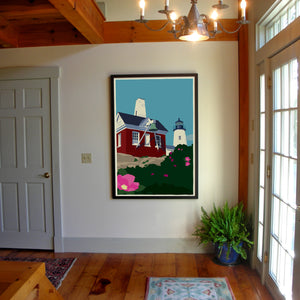 "Pemaquid Point Light Bell Art Print 36"" x 53"" Framed Wall Poster - Maine"