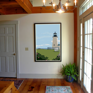 "Pemaquid Point Light Hikers Art Print 36"" x 53"" Framed Wall Poster - Maine"