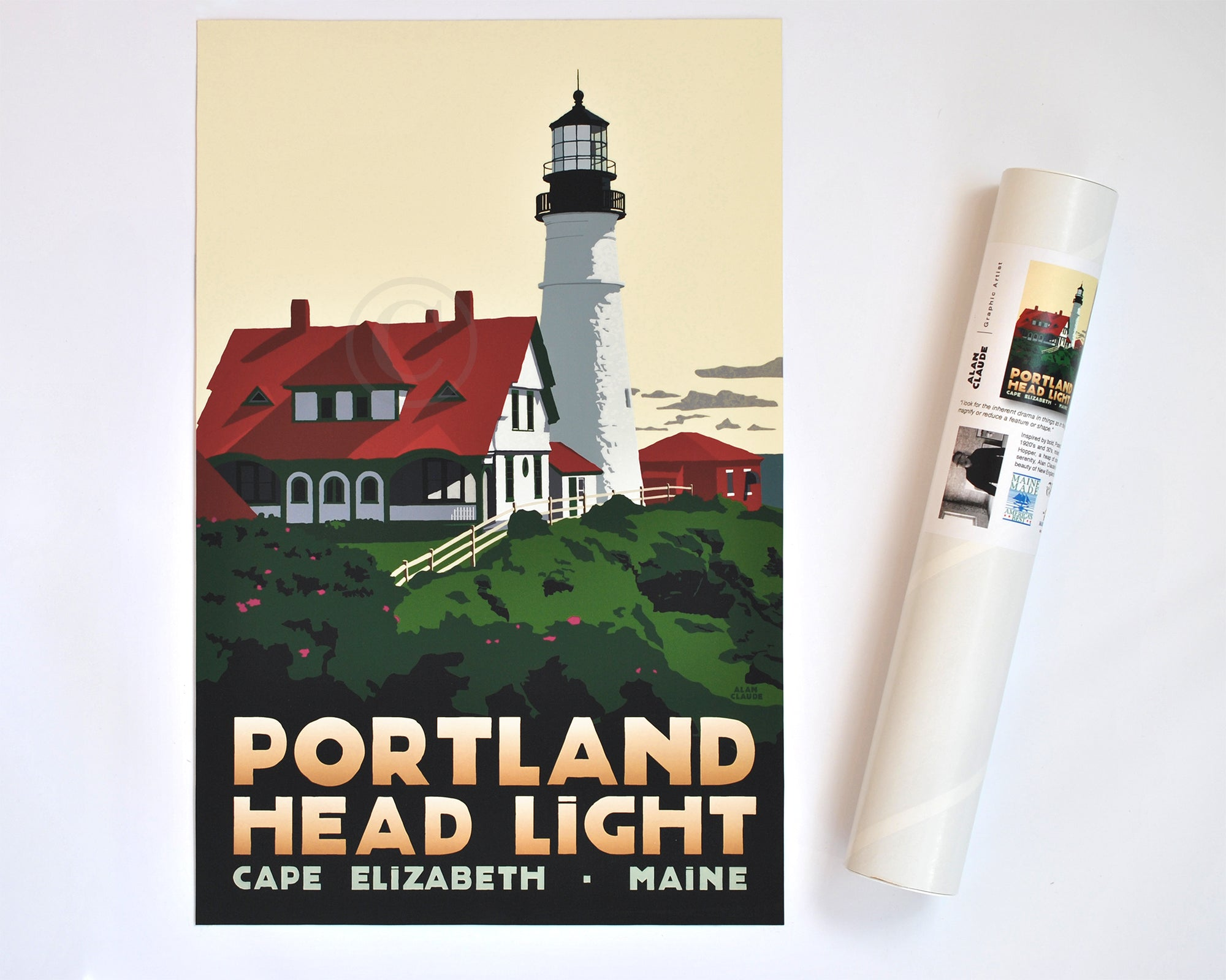 "Portland Head Light Art Print 11"" x 17"" Travel Poster - Maine"