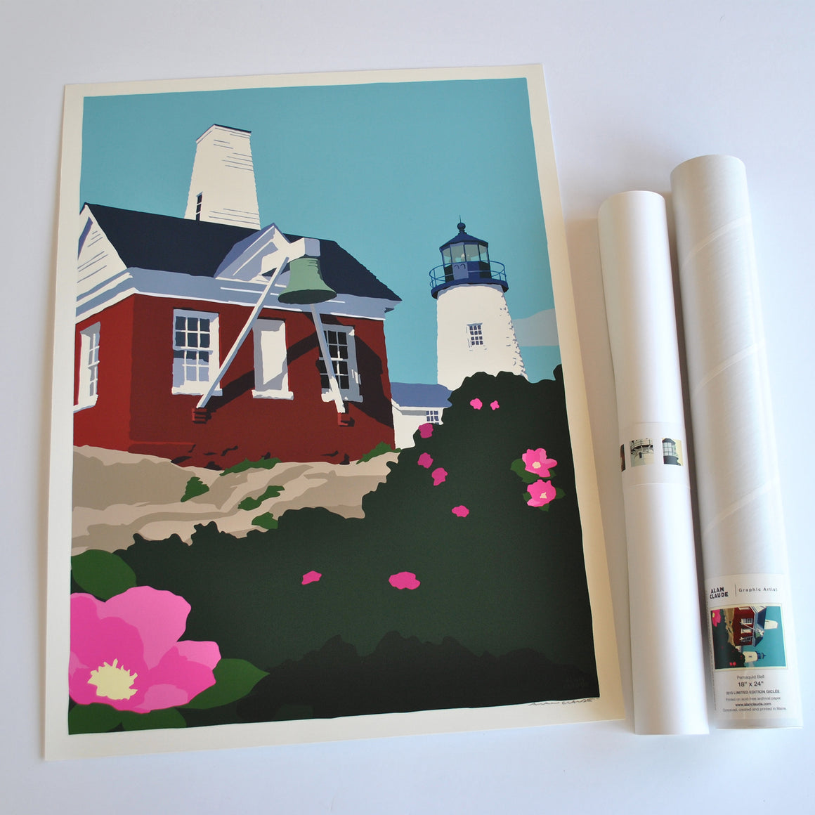 "Pemaquid Point Light Bell Art Print 18"" x 24"" Wall Poster - Maine"