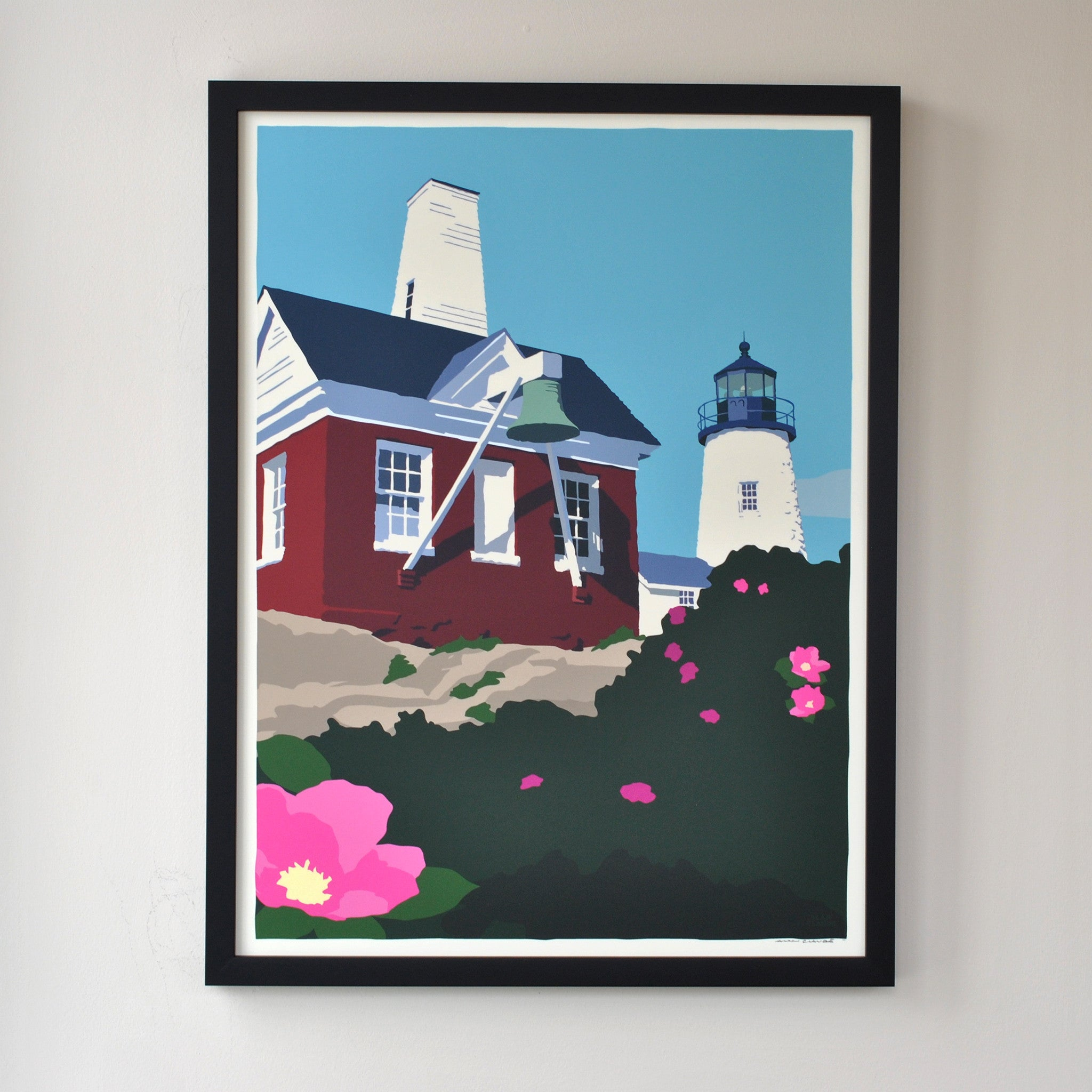 "Pemaquid Point Light Bell Art Print 18"" x 24"" Framed Wall Poster - Maine"