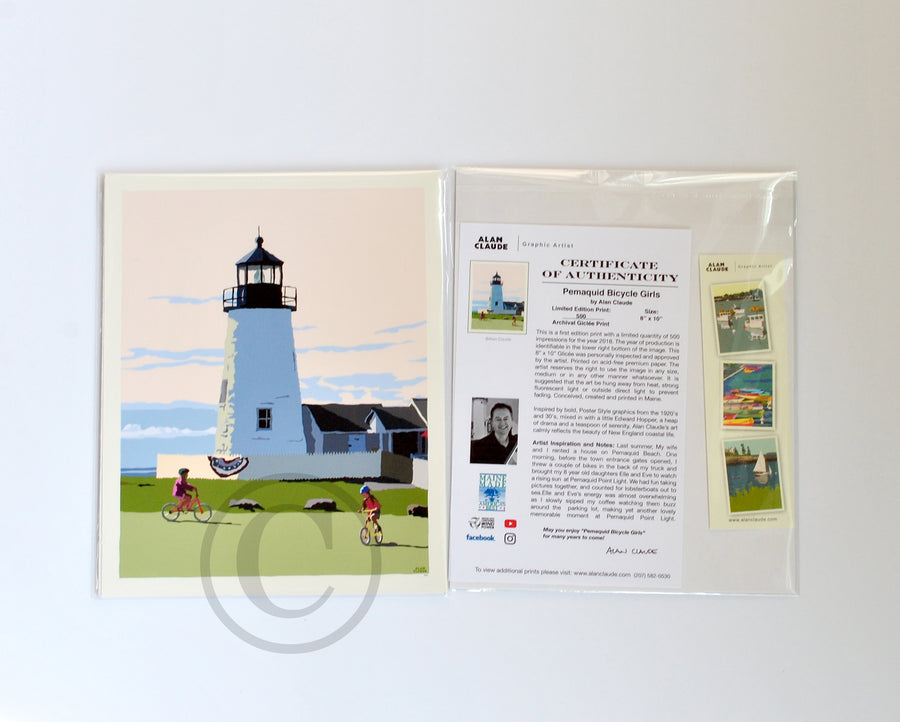 "Pemaquid Bicycle Girls Art Print 8"" x 10"" Wall Poster - Maine"