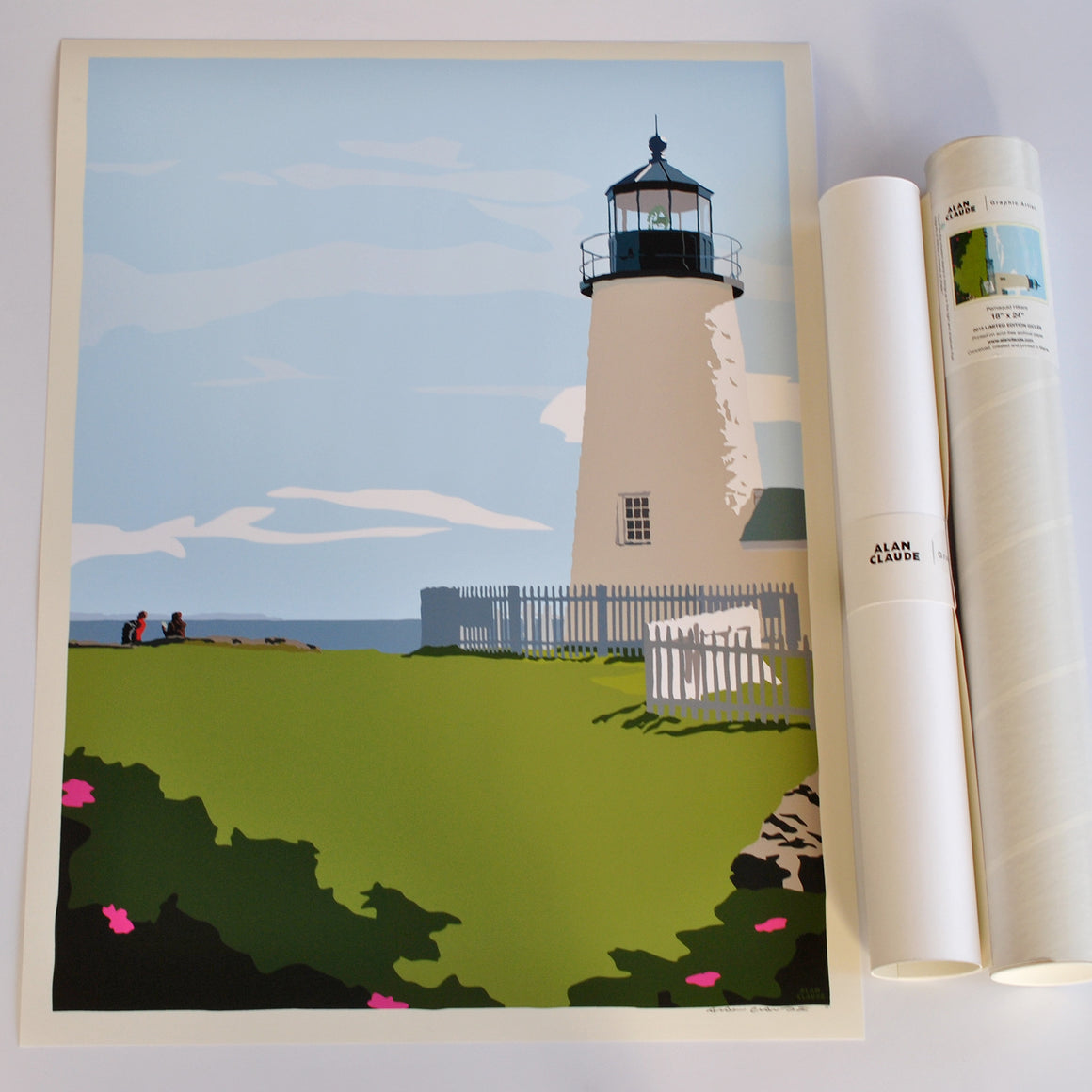 "Pemaquid Point Light Hikers Art Print 18"" x 24"" Wall Poster - Maine"