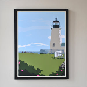 "Pemaquid Point Light Hikers Art Print 18"" x 24"" Framed Wall Poster - Maine"