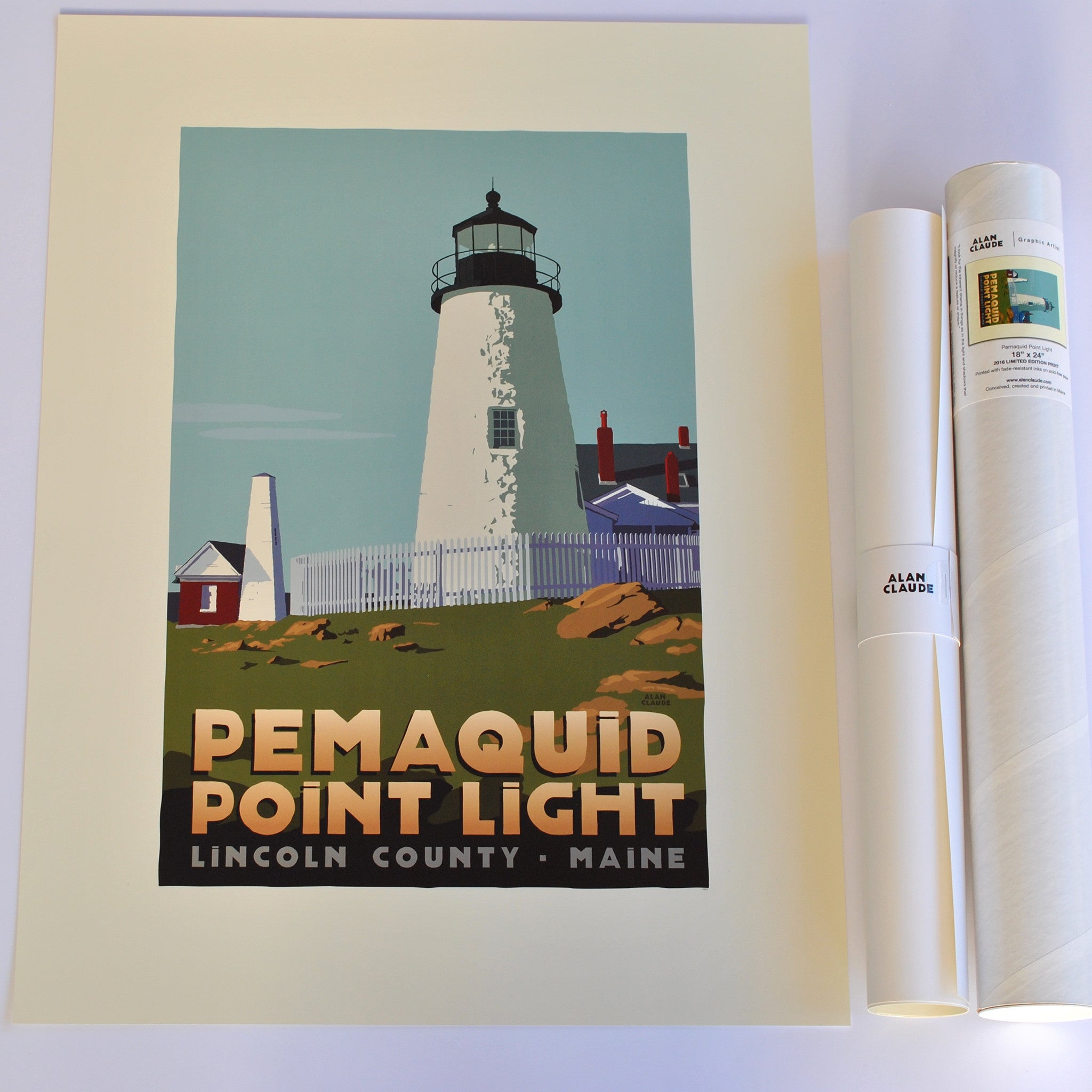 "Pemaquid Point Light Art Print 18"" x 24"" Travel Poster - Maine"