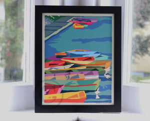 "Perkins Cove Dinghies Art Print 8"" x 10""  Framed Travel Poster - Maine"