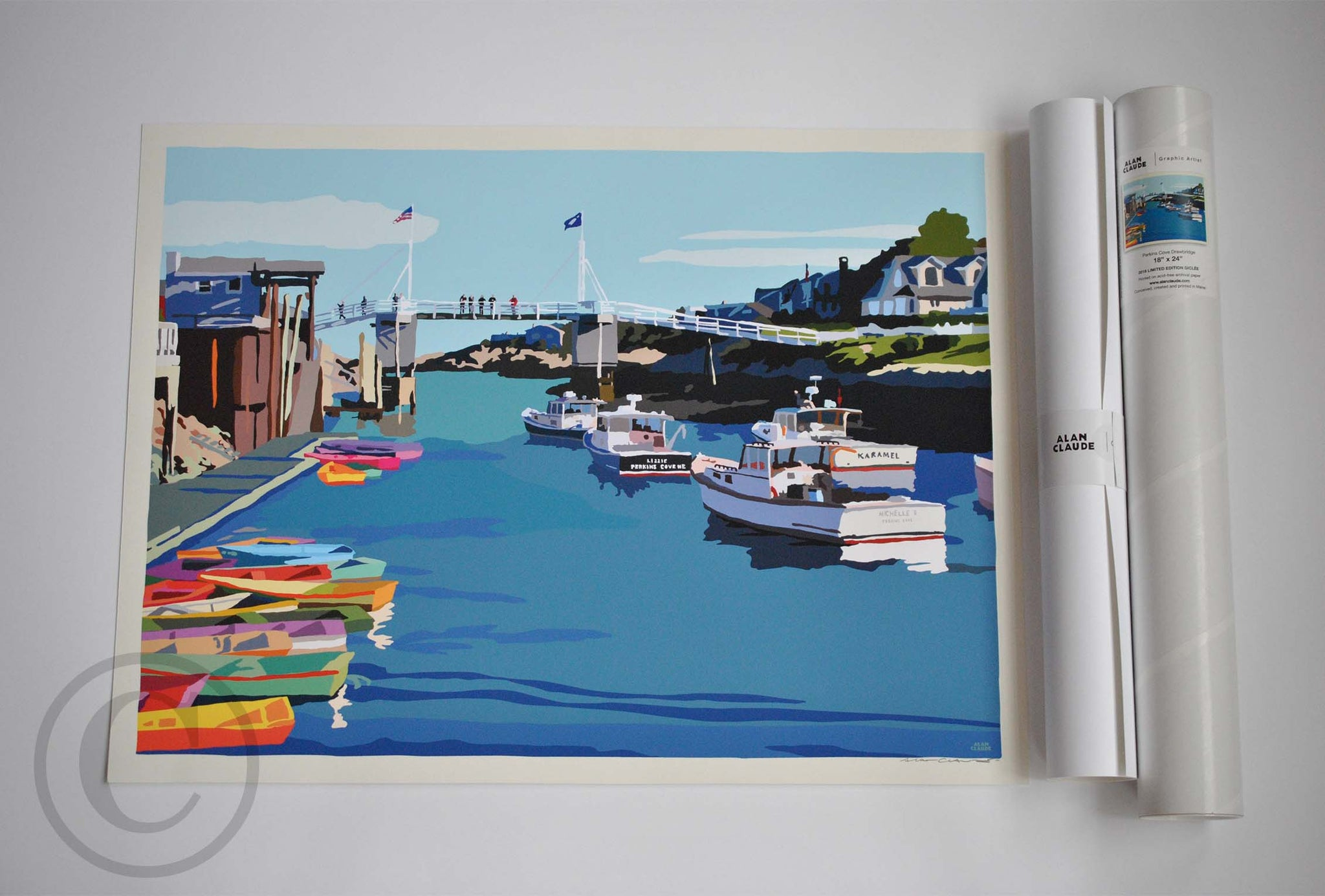 "Perkins Cove Draw Bridge Print 18"" x 24"" Travel Poster - Maine"