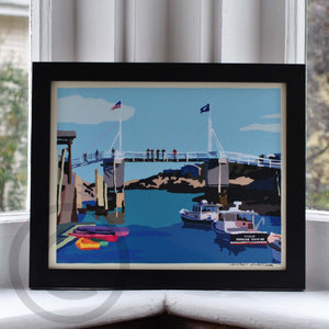 Perkins Cove Draw Bridge Art Print