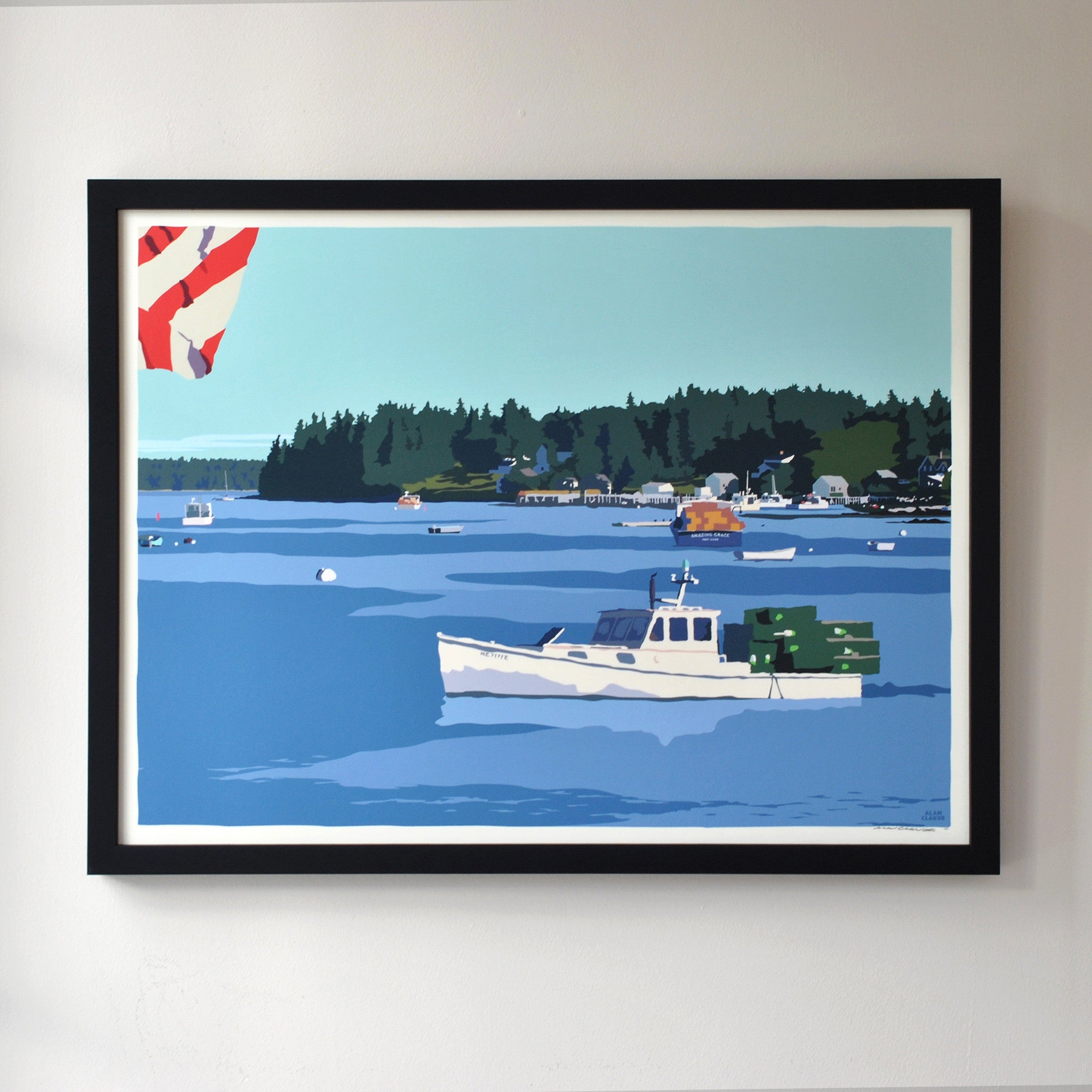 "Port Clyde Lobster Boat Art Print 18"" x 24"" Framed Wall Poster - Maine"