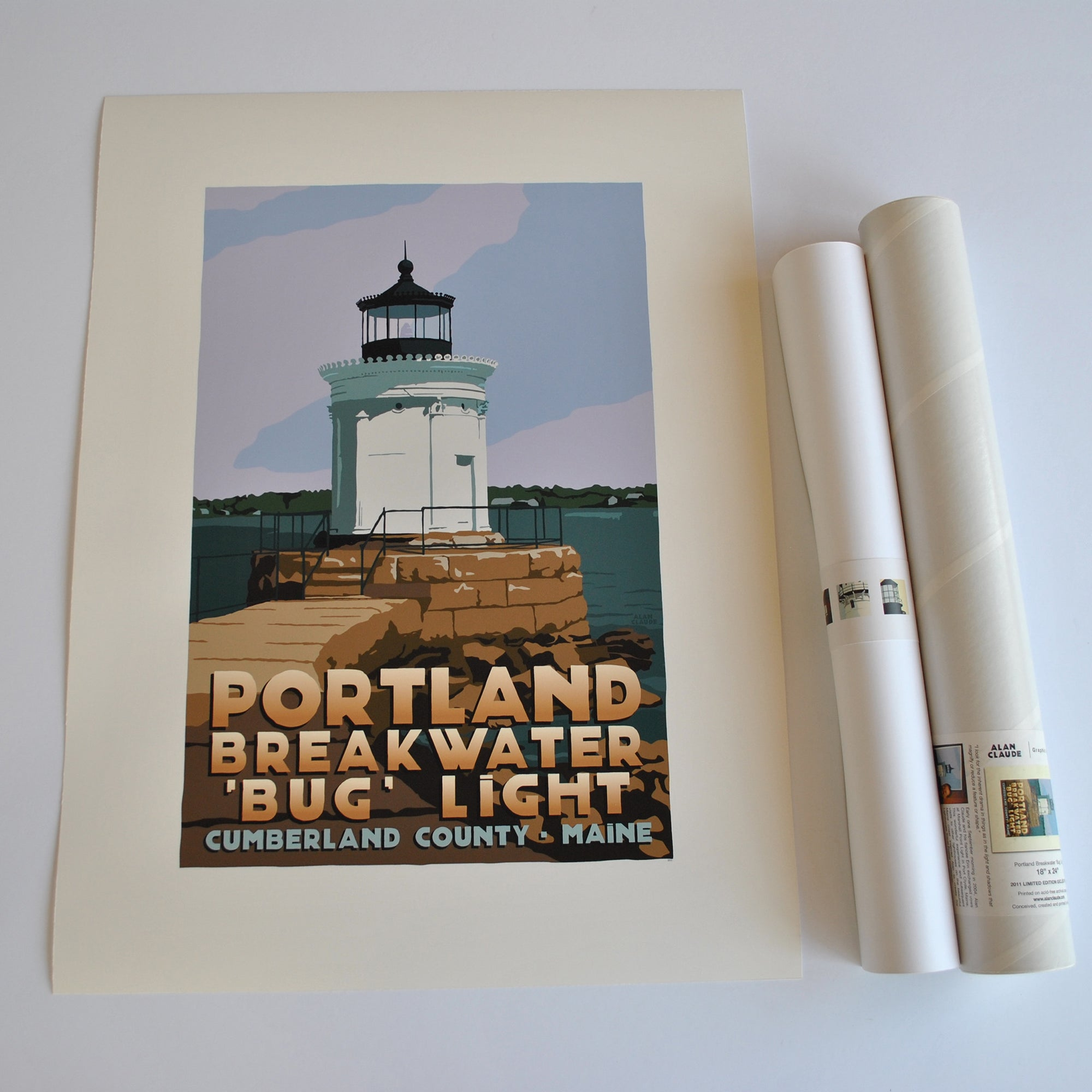 "Portland Breakwater Bug Light Art Print 18"" x 24"" Travel Poster - Maine"