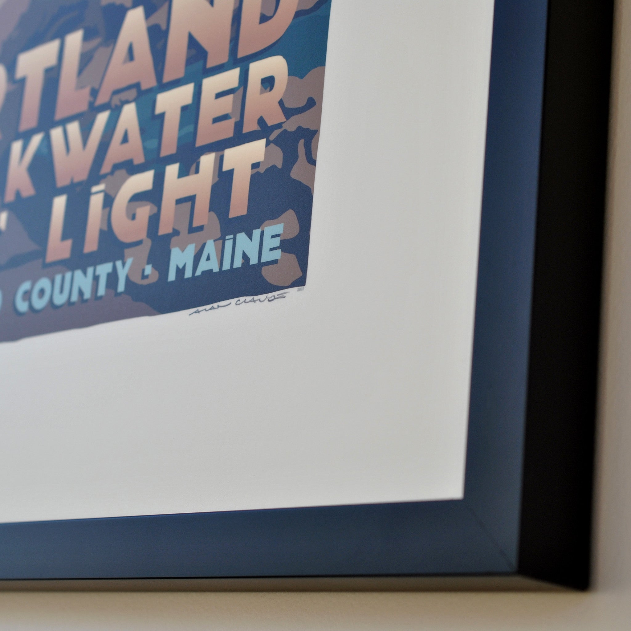 "Portland Breakwater Bug Light Art Print 18"" x 24"" Framed Travel Poster - Maine"