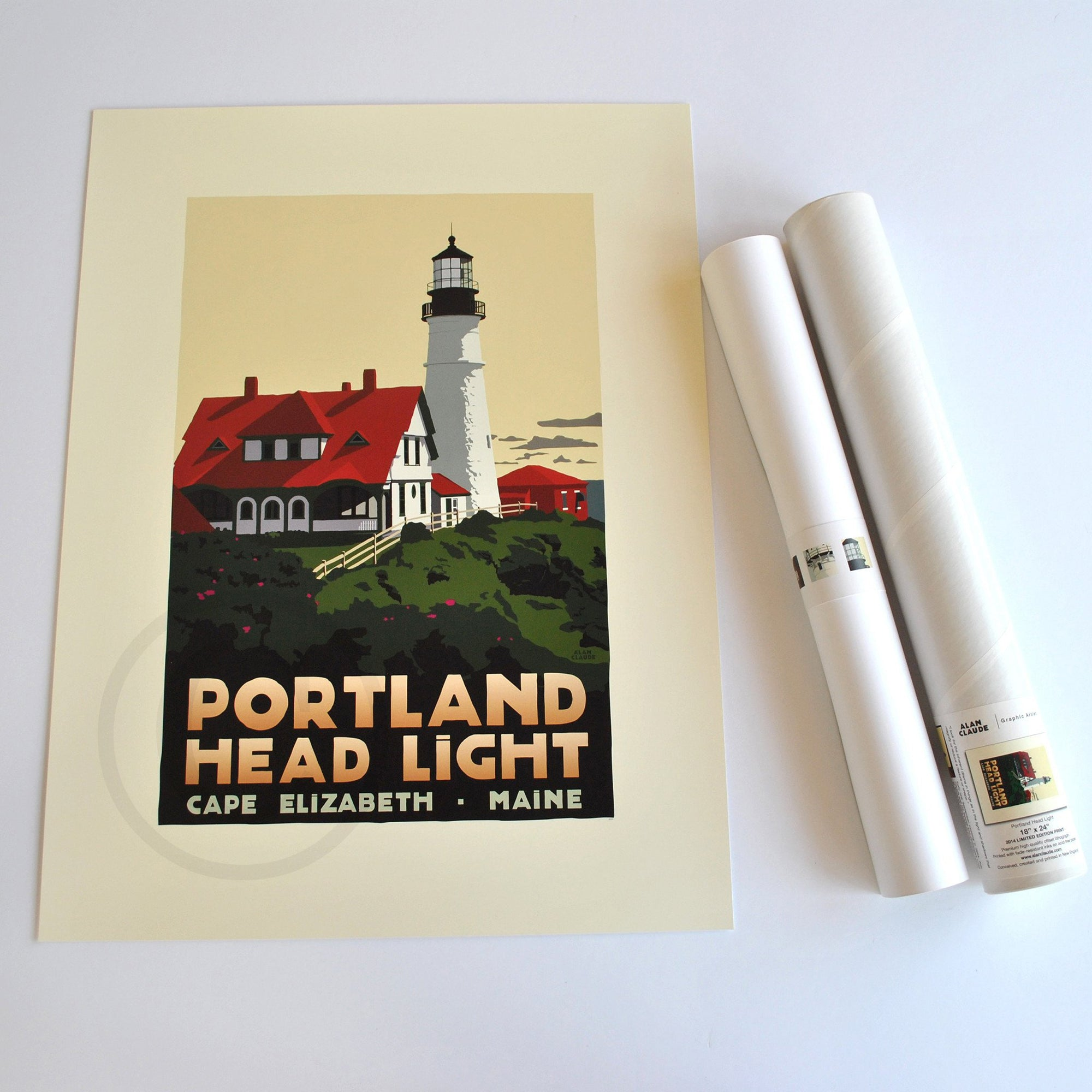 "Portland Head Light Lighthouse Art Print 18"" x 24"" Travel Poster - Maine"